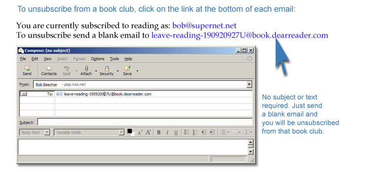 Example of how you click on the unsubscribe link at the bottom of each day's book club email.